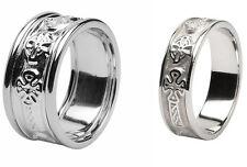 Pair Irish Handcrafted Celtic Cross Ring Wedding Set 14 k White gold 10mm & 6mm
