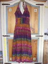 PURPLE ORANGE RED PEACOCK COTTON HALTER NECK HIPPY BOHO LONG MAXI DRESS SIZE 10