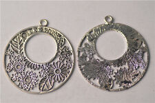 3Pcs Silver Plated Alloy Charms Pendants DIY Craft Jewelry Findings 55.5x61mm