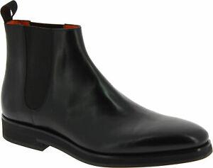 Santoni Men's ankle boots black leather with elastic bands Size US 10.5 - EU 43½