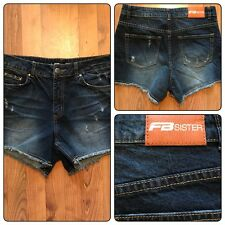 FB Sister Women's Blue Jean Shorts Size M Juniors Distressed F B Sister Frayed