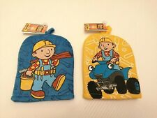 Kids Wash Mitts - Bob The Builder - Blue / Yellow - 2 Pack - Bath Shower Flannel