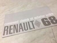 Renault 1968 R8 R10 R4 R16 , R8 gordini catalogue prospectus brochure dépliant