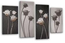 Floreale a muro arte foto stampa floreale 2 Tonalità Grigio Pannello diviso