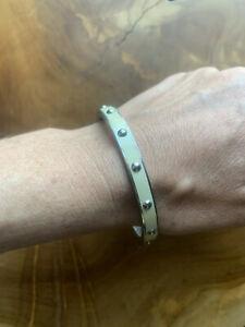 COACH Studded Enamel Bangle Bracelet Silver/Cream