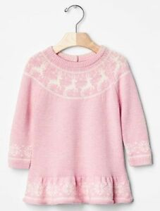 GAP Baby Girls NWT Size 3-6 Months Pink / White Reindeer Christmas Sweater Dress