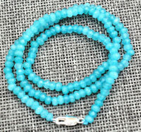 Faceted 2x4mm Blue Aquamarine Rondelle Gems Beads Necklace 18'' Silver Clasp