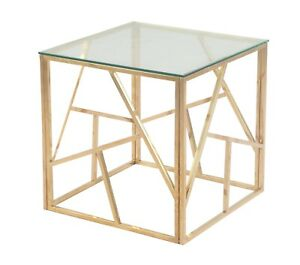 Phoenix Glass Side/End table  - Gold, Rose Gold, or Silver