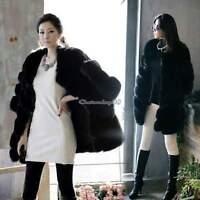 NEW Women Thicken Warm Faux Fur Winter Coat Parka Overcoat Jacket Black Outwears