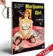 Marijuana GIRL VINTAGE A4 POSTER * 1950's PASTA ROMANZO BOOK COVER * hardbacked