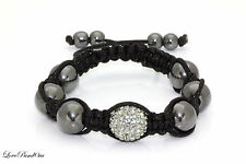 High Quality Stunning Hematite Stone SHAMBALLA BRACELET with Sparkling Crystal!