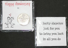LUCKY SIXPENCE COIN KEEPSAKE HAPPY ANNIVERSARY FOR COUPLE