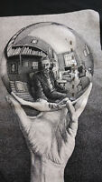 MC Escher SMALL Art T-Shirt Self Portrait Hand With Reflecting Sphere Black Mens