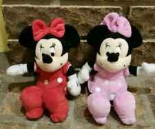 "Lot of two 8"" plush Minnie Mouse red pink polka dots"
