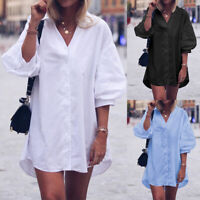 Womens V Neck Puff Sleeve Loose Buttons Tunic Tops Solid Shirt Blouse Mini Dress
