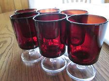 SET OF SIX, VINTAGE, STEMWARE, DEEP RED DEMITASSE GLASSES