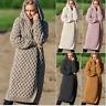 2019 Damen Strickjacke Lange Strickmantel Pullover Kapuze 36 38 40 42 S M L XL