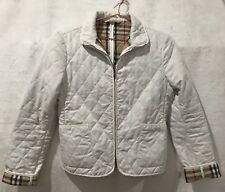 BURBERRY ENGLAND WHITE QUILTED ZIP UP CUFF SLEEVE JACKET COAT ZIP UP SOFTSHELL