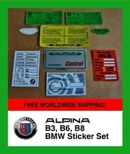 BMW ALPINA B3, B6, B8 Sticker Set Decal set Reifendruck-Aufkleber tyre BMW E36