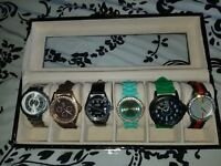 6-slot Leather Watch Box with 6 watches included Display Glass Top Jewelry Case