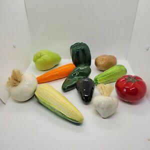 Lot Of 11 Decorative Ceramic Faux Vegetables Glossy Glazed Potato Pepper Corn
