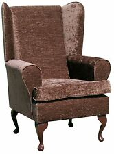 FIRESIDE WING BACK QUEEN ANNE CHAIR LUXURY BROWN FABRIC