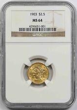 1903 $2.5 NGC MS 64 Liberty Head Gold Quarter Eagle