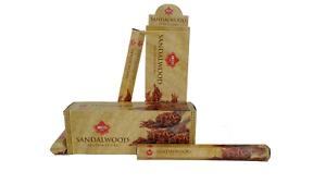 IBCO Sandalwood Hexa Incense Sticks, 20 Sticks per pack (6 packs) =120 sticks