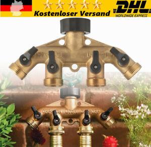 """4 Wege 3/4"""" Wasserverteiler Messing Gartenschlauch Wasserhahn Verteiler Ventil"""