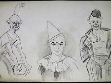 FERNEL Portrait des FRERES FRATELLINI Dessin Original CLOWNS CIRQUE Années 1920