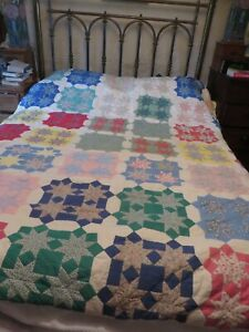 """Stunning  Antique quality padded star patchwork quilt with Liberty fabric 84/78"""""""