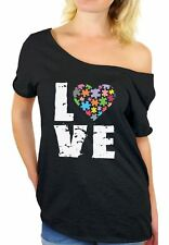 Autism Awareness Off The Shoulder Tops T shirts Women's Love Puzzle