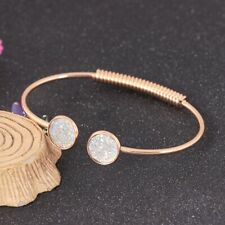 Women Crystal Quartz Druzy Bracelet Natural Stone Charm Cuff Bangle Lover Gifts