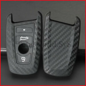 Silicone fob Key Case Cover Carbon Fibre for BMW 1, 3, 5, 6, 7, F,  4 Buttons