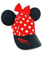 Disney Parks Minnie Mouse Hat With Ears Baseball Cap Youth Size Kids Red Black