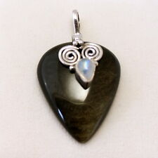 Plata Obsidiana con Piedra de la luna Colgante 925 Silber Gema,Joyería Nuevo