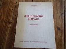 RARE BIBLIOGRAPHIE BIRMANE D.BERNOT ANTHROPOLOGIE CNRS ATLAS ENTHNO-LINGUISTIQUE