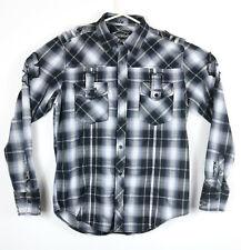 Buckle Black Label Mens Slim Fit Medium Embroider Distressed Pearl Snap Shirt
