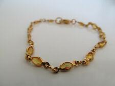 Tono de oro delicado Cadena Pulsera Con Piedras Semipreciosas Amarillo