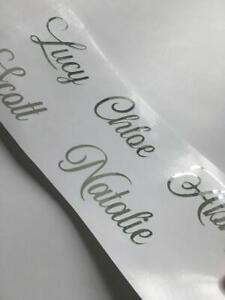 SILVER Name X 10 Stickers Vinyl Decal Wine Glass Hen Wedding Personalised DIY