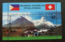 Philippines Switzerland Joint Issue 150 Relations Volcano Mountain 2001 (ms) MNH