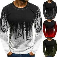4Colors Men Cotton Gradient Long Sleeve Basic T-Shirts Casual Fitness Gym Tee