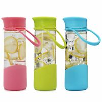1 Pack Secret Smiley FaceCup Happy Drinking Borosilicate Glass Water Bottle17OZ