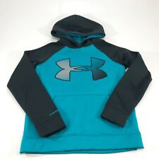 Under Armor Kids Loose Fit Pull Over Blue Grey Hoodie Size YMD