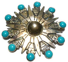 PERSIAN TURQUOISE MMC TAXCO MEXICO STERLING SILVER TURQUOISE BROOCH PIN PENDANT