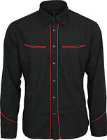 Relco Plain Black Western Cowboy with Red Piping Long Sleeved Shirt