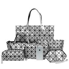 Women's Geometric Patterned Bags Set Shoulder Bag Satchel Messenger - Silver