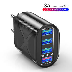 4 Port Fast Quick Charge QC 3.0 USB Hub Wall Charger Power Adapter 3.1A US/EU/UK