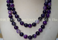 Natural 10mm Purple Striped Agate Onyx Gems Round Necklace Long 35 Inch AAA