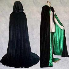 Lined Black Green Velvet Cloak Cape Wedding Wicca SCA Cosplay LARP LOTR GOT